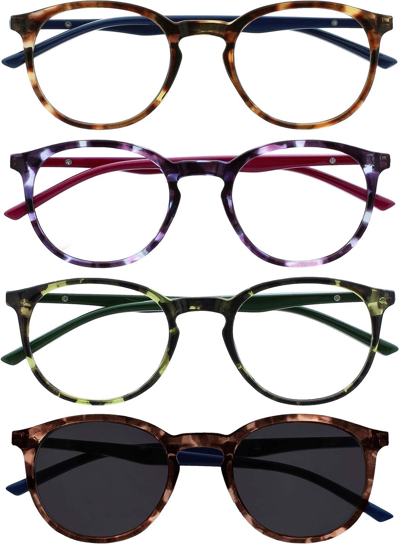 Opulize Met Pack 4 Gafas De Lectura Con Lectores De Sol Grande Redondo Marrón Púrpura Verde Hombres Mujeres RRRS60-2562 +2,00