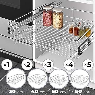 Cesto Extraíble para Armario - de 30 cm con Riel Telescópico, Tamaño (30, 40, 50, 60 cm) y Set (1, 2, 3, 4, 5 uds) a Elegir - Cajón Telescópico, Bandeja Extraíble Cocina
