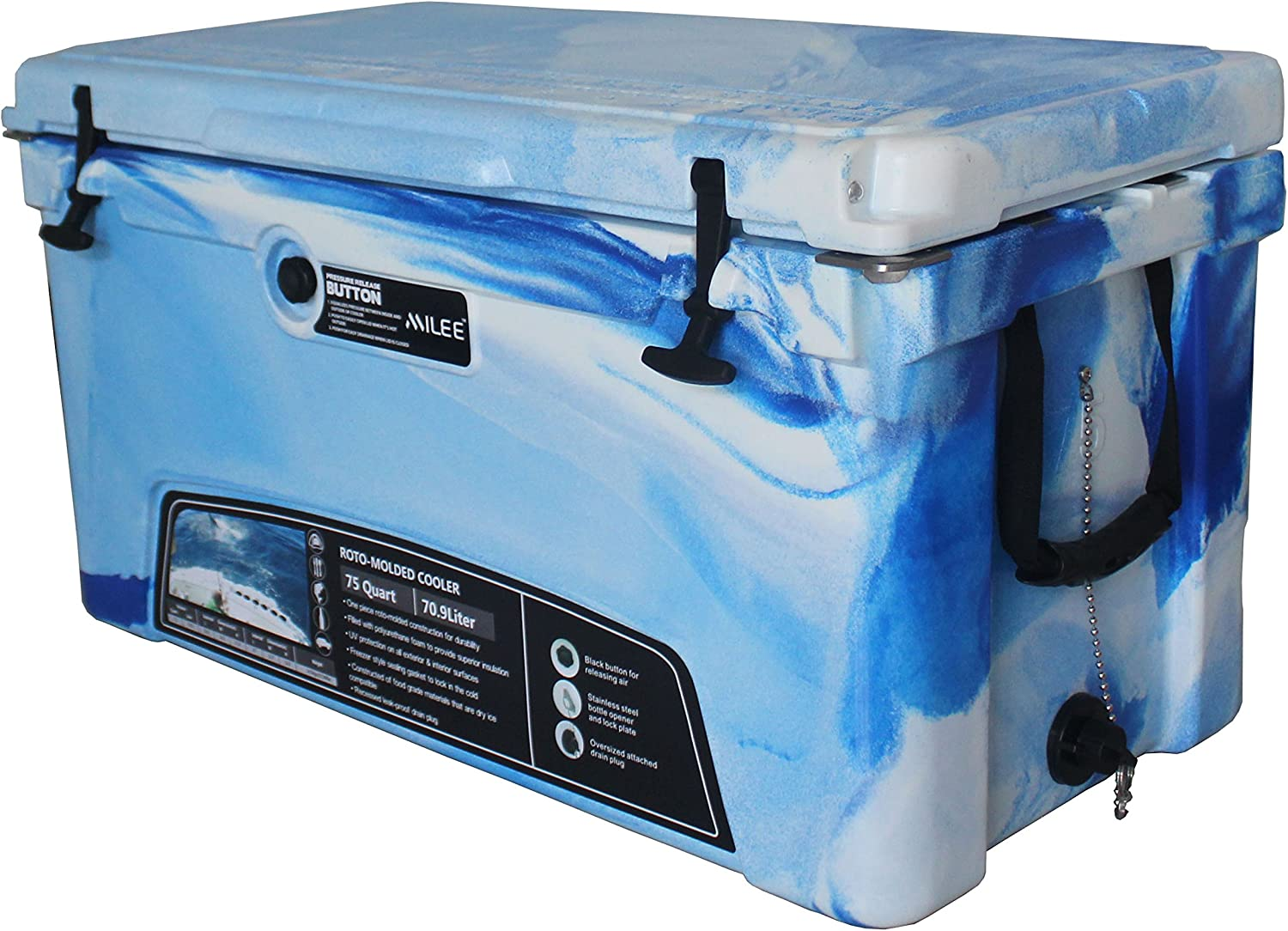 MILEE Heavy Duty Cooler 75 QT ( 50 Accessories Included Divider,Cup Holder and Basket are Free.