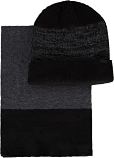 Men's Winter Warm Knit Beanie Hat and Scarf Set, black, One Size