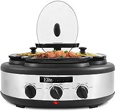 Elite Platinum, MSTB-305, Triple Slow Cooker Lazy Susan Buffet Server with 3 Removable 1.5 Qt. Oval Crock Insert Pots, Separate Temperature Controls, Locking Lids, Lid Rests, 4.5 Qt., Stainless Steel