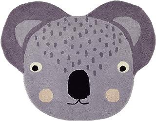 OYOY Mini Koala Rug – rund barnkammare matta koala huvud – barnlekmatta för pojkar och flickor – 100 x 75 cm av en ull bom...