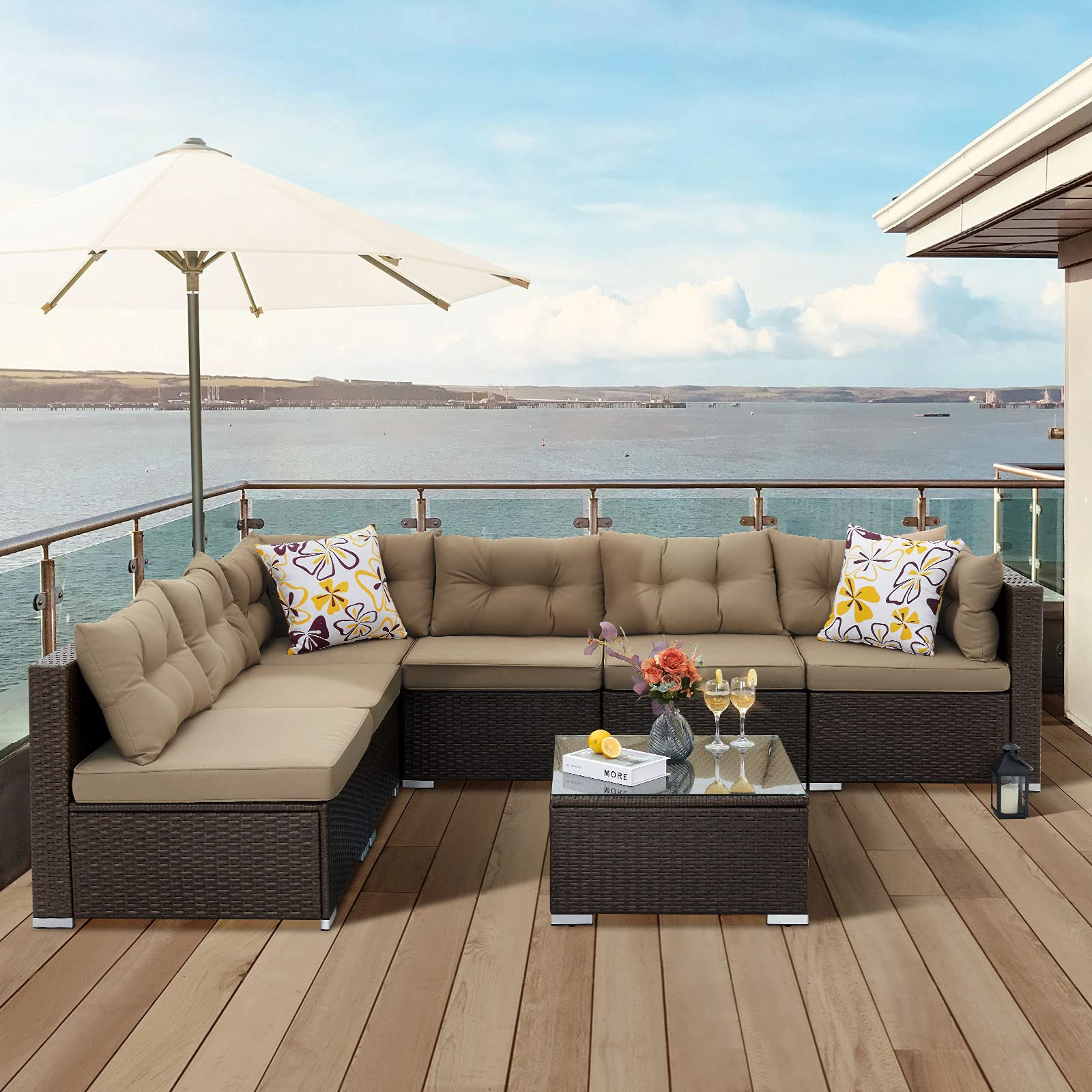 YITAHOME 7 Pieces Patio Furniture Set,All-Weather Rattan Patio Conversation Set,Outdoor Sectional Sofa PE Rattan Wicker Ou...