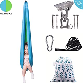 Indoor Sensory Swing for Kids & Adults - Solid Therapy Swings, Swivel Hardware Included - Helps with Sensory Processing Disorder, Autism, ADHD - Sensory Hammock Swing Great for Soothing & Playing