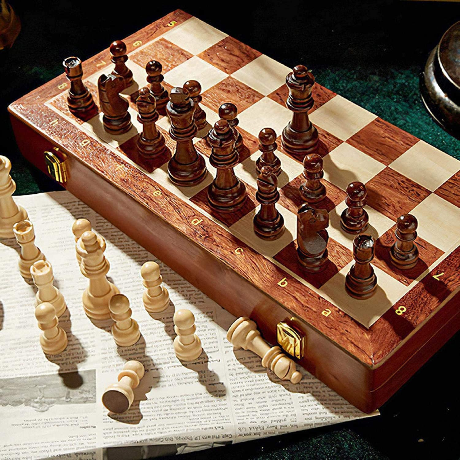 ZHZHUANG Chess Set Chessmen Collection 3 Elegant Gifts 1 In Wooden Folding in