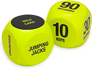 SPRI Exercise Dice (6-Sided) - Game for Group Fitness & Exercise Classes - Includes Push Ups,  Squats,  Lunges,  Jumping Jacks,  Crunches & Wildcard (Includes Carrying Bag)