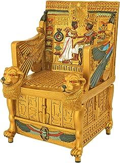 Dеsign Tоscаnо ホームデコ エジプト装飾小物ボックス - キングチュの金色のトローンジュエリーボックス- エジプト像