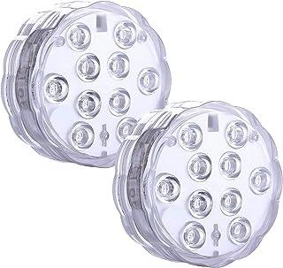 LED Unterwasser-LED-Licht, wasserfest, ferngesteuert, batteriebetrieben, kabellos, RGB, wiederverwendbar, für Teiche, Party, Hochzeit, Vasenboden, Weihnachten (2 Stück)