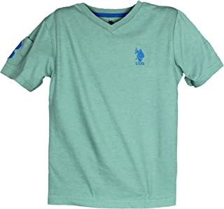 USPA Big Boys Short Sleeve Solid V-Neck Large Pony T-Shirt 8-18