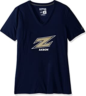 adidas NCAA Akron Zips Adult Women Lined Logo S/Ultimate V Tee, X-Large, Navy