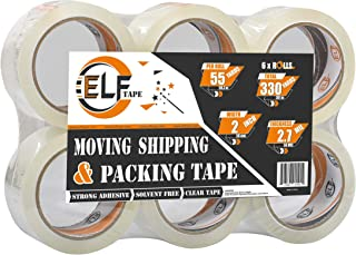 """ELF TAPE Packing Tape Rolls - Strong Acrylic Clear Tape Refill Rolls for Shipping, Moving, Packaging, Heavy Duty Sealing Adhesive, 2"""" Width, 55 Yards Per Roll, Stronger 2.7mil Thick (6 Rolls)"""