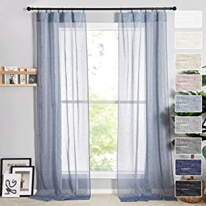 RYB HOME Extra Long Sheer Curtains 108 inches, Natural Linen Curtains Farmhouse Window Decor Light Glare Filtering Privacy Protect for Bedroom Office Porch Door, Denim, W 52 x L 108 in, 2 Panels