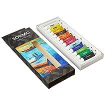 Amazon Brand – Solimo Acrylic Paints, Set of 12 Assorted Shades, 9ml Tubes