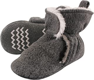 Baby Cozy Sherpa Booties with Non Skid Bottom, Heather Charcoal, 6-12 Months