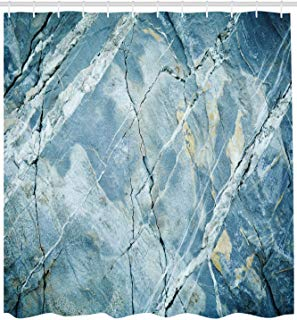 """Ambesonne Marble Shower Curtain, Exquisite Granite Stone Architecture Floor Nature Faded Rock Picture, Cloth Fabric Bathroom Decor Set with Hooks, 84"""" Extra Long, Light Blue"""