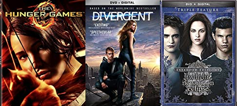 The Twilight Saga: Extended Edition Triple Feature New Moon / Eclipse DVD + Divergent Series Movie + Hunger Games - 5 Disc collection