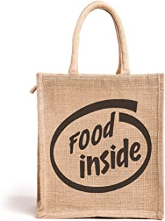 H&B Food Inside Printed Jute Tote Tiffin Bags with Zip Medium Size ( Beige, Size: 11x10x6 in)