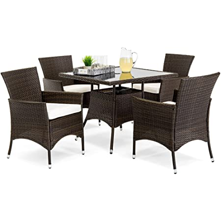 Best Choice Products 5 Piece Indoor Outdoor Wicker Dining Set Furniture For Patio Backyard W Square Glass Table Top Umbrella Cutout 4 Chairs Cream Garden Outdoor