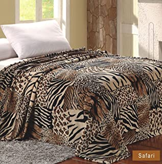 Home Must Haves Bed MicroPlush Printed King Size Blanket Safari, Brown