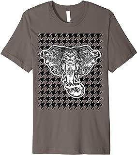 Houndstooth Alabama Crimson and White with Elephant Football Premium T-Shirt