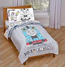 Jay Franco Nickelodeon Thomas & Friends Thomas Doddle Days 4 Piece Toddler Bed Set - Includes Reversible Comforter & Sheet Set - Super Soft Fade Resistant Microfiber - (Official Nickelodeon Product)