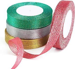 Artigianato Fai-da-te Nastro da Regalo Natalizio per Decorazioni AIEX 5 Rotoli 115m x 2cm Nastro Natalizio Glitterato Rosa//Oro//Verde//Argento//Rosso Vino