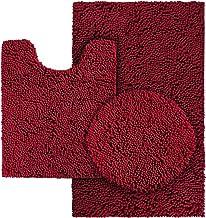 HOMEIDEAS 3 Pieces Bathroom Rugs Set Burgundy, Includes U-Shaped Contour Toilet Mat, Bath Mat and Shaggy Toilet Lid Cover,...