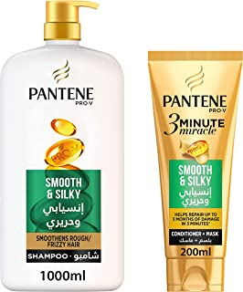 Pantene Pro-V Smooth & Silky Shampoo 1L + 3 Minute Miracle Conditioner 200 ml