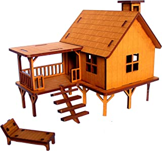 StonKraft Wooden 3D Puzzle Beach House - Home Decor, Construction Toy, Modeling Kit, School Project - Easy to Assemble
