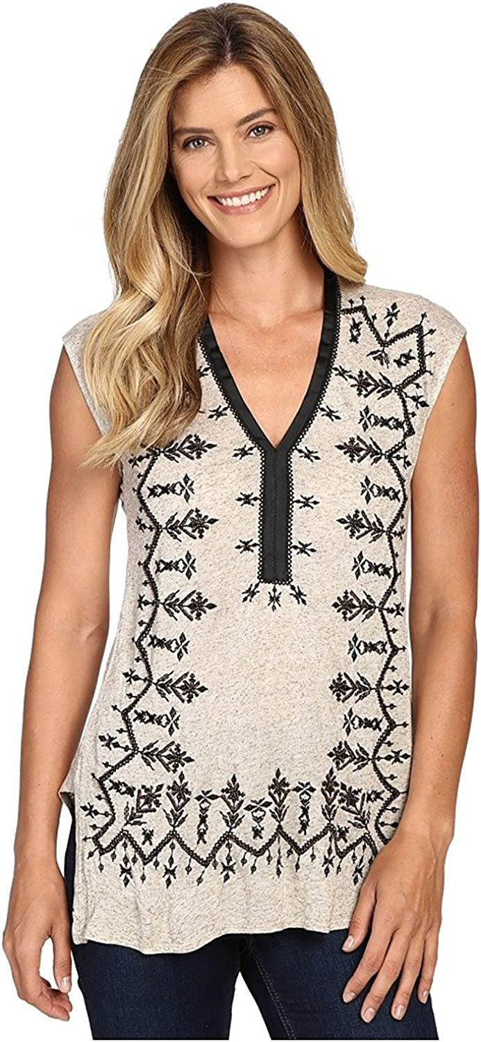 Lucky Brand - Women's - Oatmeal Heather Bead Embroidered Tunic Knit Top
