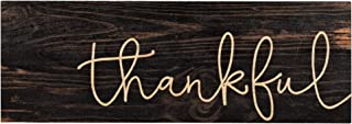 P. Graham Dunn Thankful Script Design Black Distressed 16 x 6 Inch Solid Pine Wood Plank Wall Plaque Sign