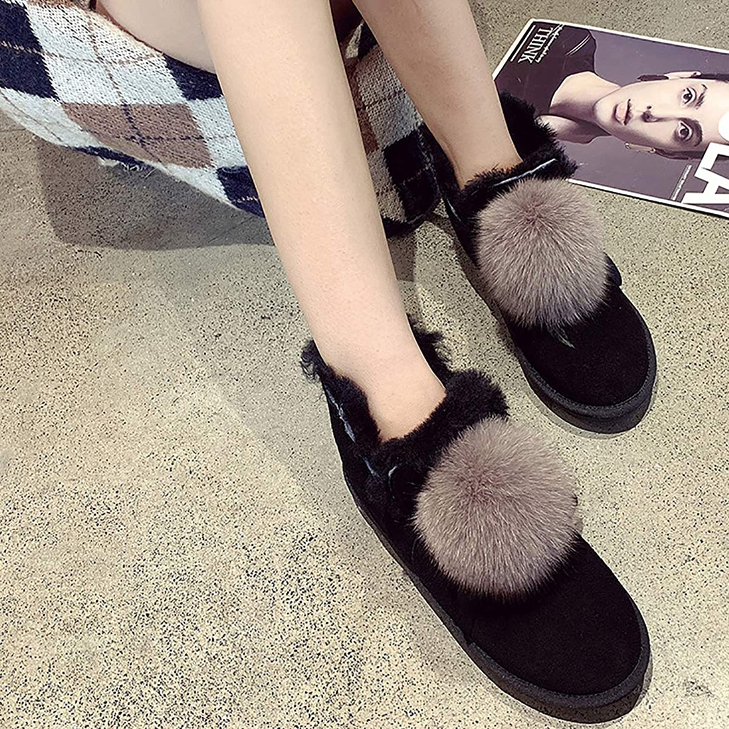 Women's Short Tube Snow Boots, Winter Wild Leather Real Wool Warm Wool Boots,Black,37