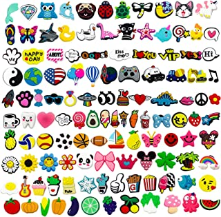 Kinear 120pcs Different Shape Shoes Charms for Croc & Jibbitz Bands Bracelet Wristband Party Gifts