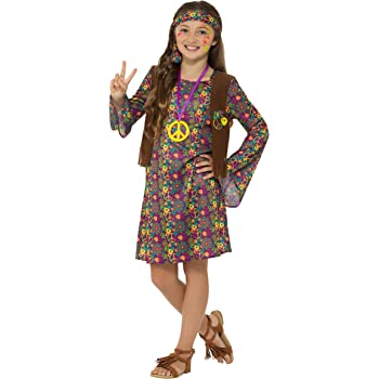 Smiffys Girl Costume, with Dress Disfraz de niña Hippie Vestido ...