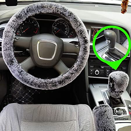 black Universal Fluffy Fuzzy Faux wool plush Handbrake Cover+Gear Shift Cover car interior for Women//Girls//Ladies//men-3pcs set IBAIOU Winter Warm Soft Furry Fur Steering Wheel Cover