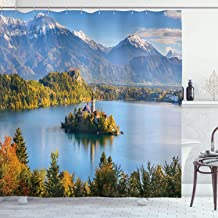 Ambesonne Cottage Decor Collection, Panoramic View of Lake Bled Slovenia with Island in the Middle which Contains Retro Buildings, Polyester Fabric Bathroom Shower Curtain, Green Blue White Olive