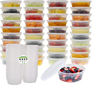 Freshware Food Storage Containers [40 Pack] 8 oz Plastic Containers with Lids, Deli, Slime, Soup, Meal Prep Containers | BPA Free | Stackable | Leakproof | Microwave/Dishwasher/Freezer Safe