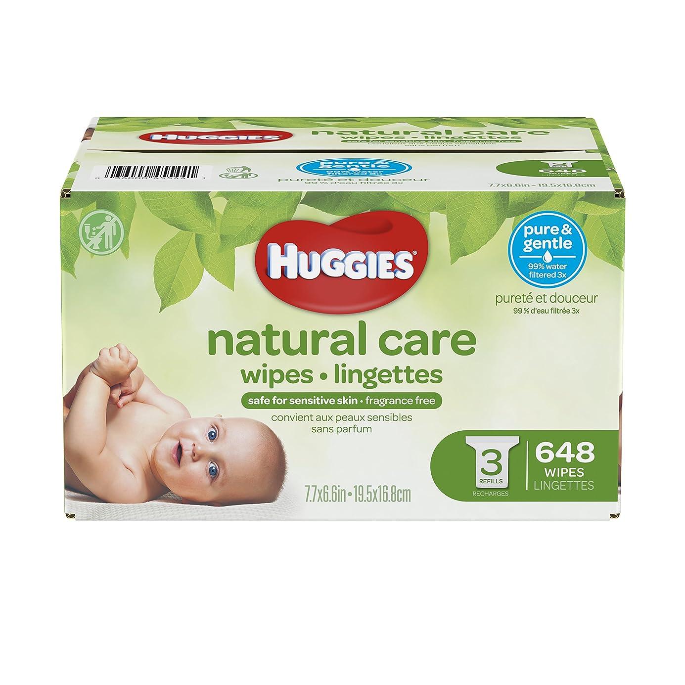 競合他社選手アルプス沿ってHuggies Natural Care Baby Wipes, Refill, Unscented, Hypoallergenic, Aloe and Vitamin E, 648 Count by Huggies