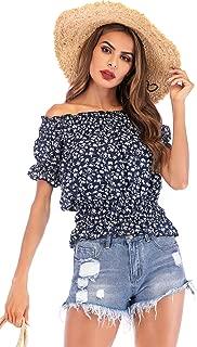 SZIVYSHI Short Sleeve Off The Shoulder Ruffled Ruffle Hem Floral Chiffon Cropped Crop T-Shirt Blouse Shirt Peplum Top Blue