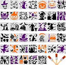 40 Pieces Halloween Plastic Painting Stencils Reusable Halloween Template Pumpkin Witch Skeleton Skull Vampire Spider Ghos...