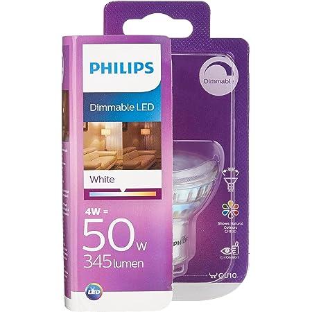 Philips Lighting 8718696581650 Philips Spot LED Culot GU10, 4W équivalent 50W, Intensité Réglable, Plastique, Blanc, 5, 4 x 5 cm