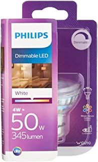 Philips Lighting 8718696581650 Philips Spot LED Culot GU10, 4W équivalent 50W, Intensité Réglable, Plastique, Blanc, 5, 4 ...