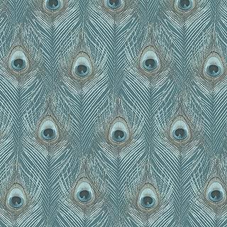 Norwall G67978 Peacock Wallpaper, Green, Aqua, Turquoise, Tropics Blue