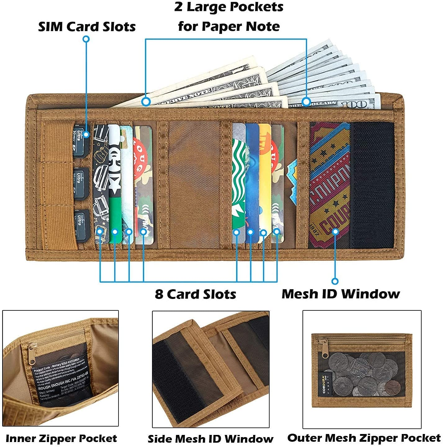 Rough Enough Tactical Kids Wallet for Teen Boys Card Trifold Keychain