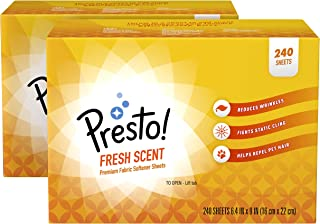 Amazon Brand - Presto! Fabric Softener Sheets, Fresh Scent, 240 Count (Pack of 2)