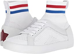 White/Red/Blue Knit/Nappa Calf
