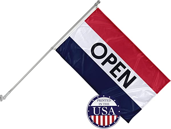 Vispronet 3ft X 5ft Open Flag With 6ft Wall Mounted Flagpole Flame Retardant Knitted Polyester Single Sided Print With 100 Visibility On Both Sides Printed In The USA