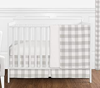 Sweet Jojo Designs Gray and White Rustic Farmhouse Woodland Flannel Grey Buffalo Plaid Check Baby Unisex Boy or Girl Nursery Crib Bedding Set Without Bumper - 4 Pieces - Country Lumberjack