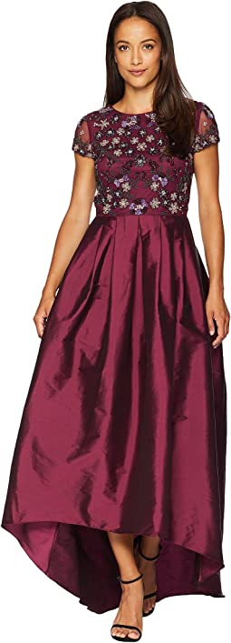 Cap Sleeve High-Low Gown with Beaded Bodice and Taffeta Skirt