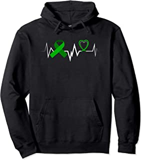 Heartbeat Green Ribbon Brain Injury Awareness Hoodie